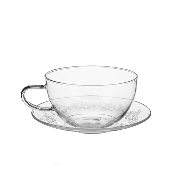 투명 유리 커피잔 SB ETCHED GLASS CUP AND SAUCER