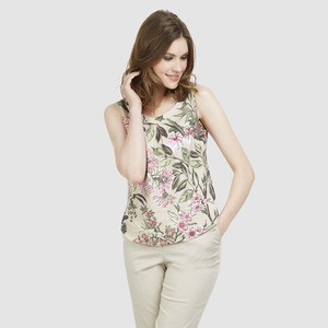 타이넥 플로랄 린넨 탑 TIE NECK FLORAL LINEN SHELL TOP