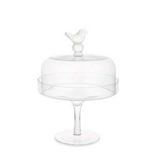 새 유리 케익스탠드  GLASS CAKE STAND WITH BIRD