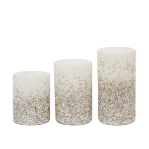 실버 스파클링 캔들 3P  SET OF 3 SILVER SPARKLE CANDLES