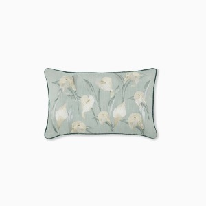 릴리움 그레이 그린 쿠션  LILIUM EMBROIDERED GREY GREEN CUSHION